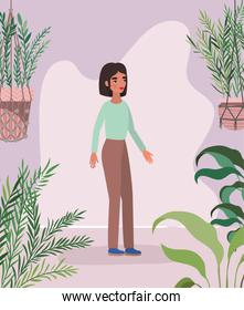 avatar woman leaves and plants vector design