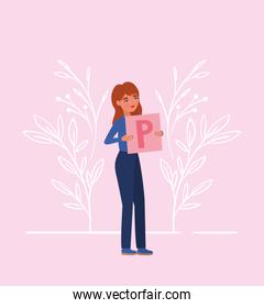 Woman with banner and leaves vector design