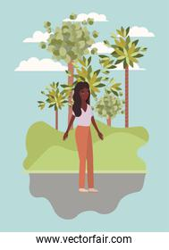 avatar woman trees and clouds vector design