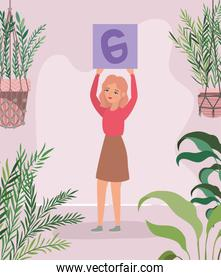Woman with banner leaves and plants vector design