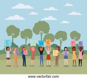 Women with banners trees shrubs and clouds vector design