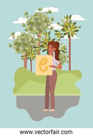 Woman with banner and trees vector design