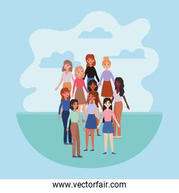 women avatars and clouds vector design