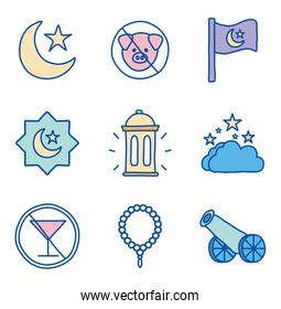Ramadan line and fill style icon set vector design