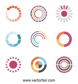 loading circles flat style icon set vector design