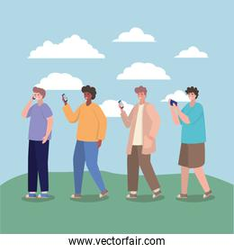 Boys with smartphones and clouds vector design