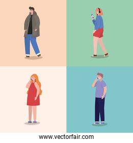 Girls and boys with smartphones vector design