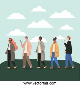 Girls and boys with smartphones and clouds vector design