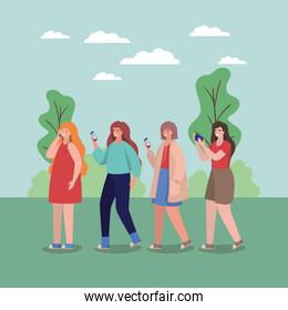 Girls with smartphones at park vector design