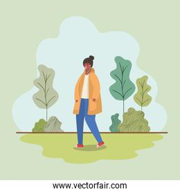 Girl with smartphone at park vector design