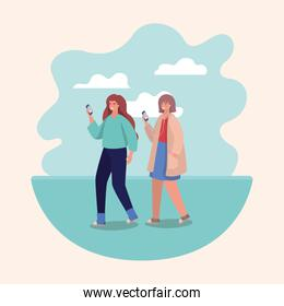 Girls with smartphones and clouds vector design