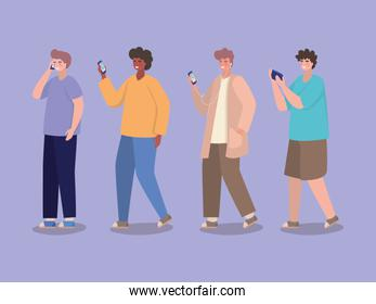 Boys with smartphones vector design