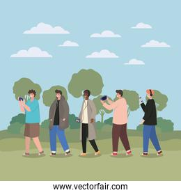 Boys with smartphones at park vector design