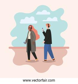 Girl and boy with smartphones and clouds vector design