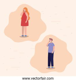 Girl and boy with smartphones vector design