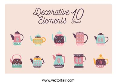 10 Cook and kitchen decorative elements flat style icon set vector design