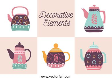 5 Cook and kitchen decorative elements flat style icon set vector design
