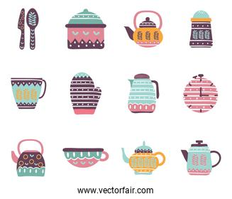 Cook and kitchen decorative elements flat style icon set vector design