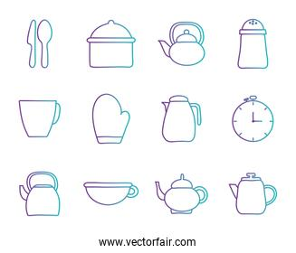 Cook and kitchen decorative elements gradient style icon set vector design