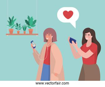 Girls with smartphones at home vector design