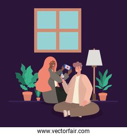 Girl and boy with smartphones at home vector design