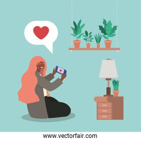 Girl with smartphone at home vector design