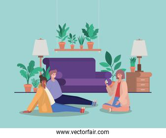 Girls and boy with smartphones at home vector design