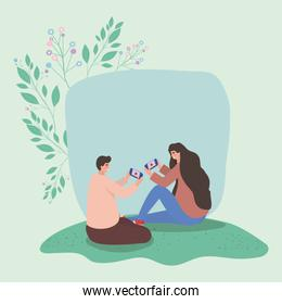 Girl and boy with smartphones and leaves vector design