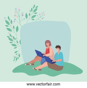 Girl and boy with laptops and leaves vector design