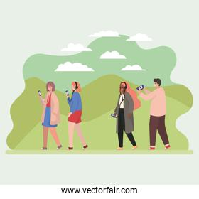 Girls and boy with smartphones at park vector design