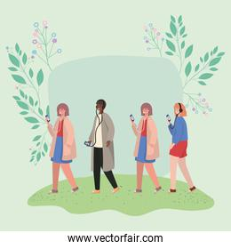 Girls and boy with smartphones and leaves vector design