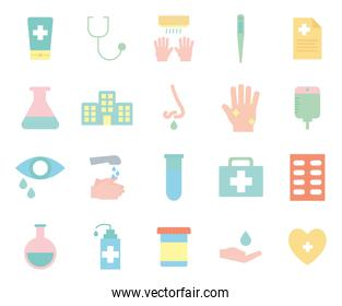 Covid 19 flat style icon set vector design