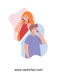 Boy and girl with smartphones vector design