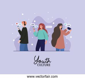 Boy and girls with smartphones and bubbles vector design