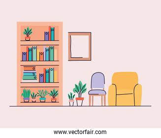 Living room with furniture and chairs vector design