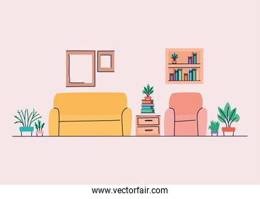 Living room with couch and chair vector design