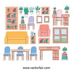 Living room objects set vector design