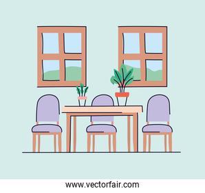 Dinning room with table and chairs vector design