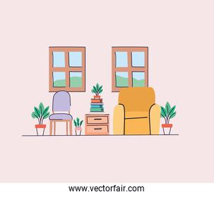 Living room with chairs and plants vector design