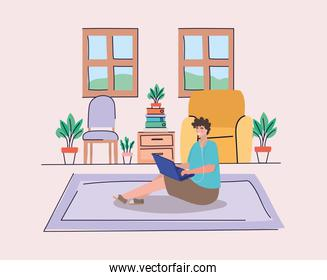 Boy with laptop at home vector design