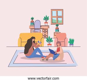 Girls with smartphone and laptop at home vector design