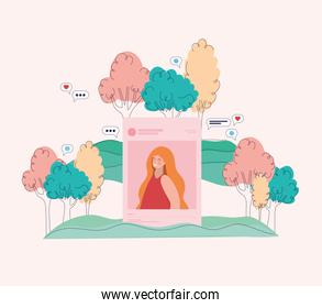 Girl picture trees and bubbles vector design