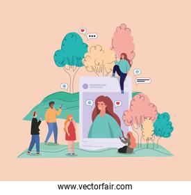 Girl picture trees bubbles and people with smartphones vector design