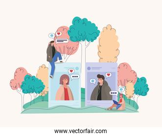 Girl and boy picture trees bubbles and people vector design