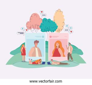 Girl and boy picture trees bubbles and people with smartphones vector design