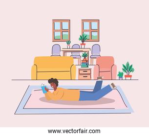 Boy with book at home vector design