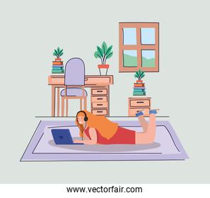Girl with laptop at home vector design