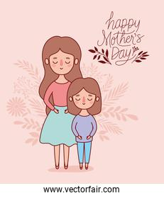 Mother and daughter cartoon with leaves vector design