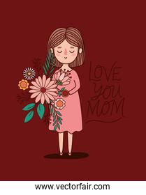 Mother cartoon with flowers and leaves vector design