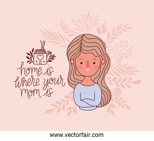 Mother cartoon with leaves vector design